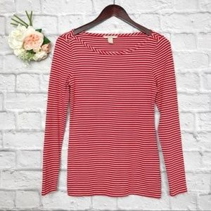 Banana Republic Long Sleeve Red Striped Top Size S